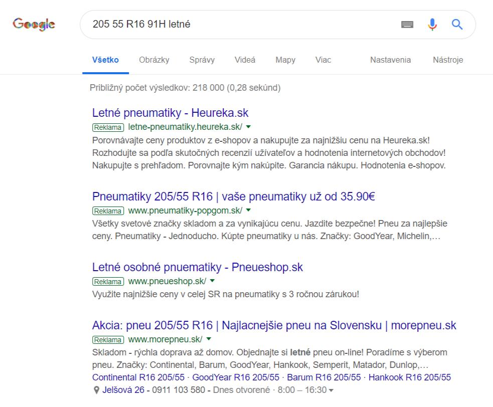 Výsledok vyhľadávania v Google na Slovensku