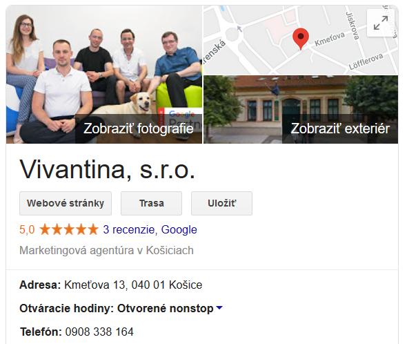 Vivantina na Google Moja firma