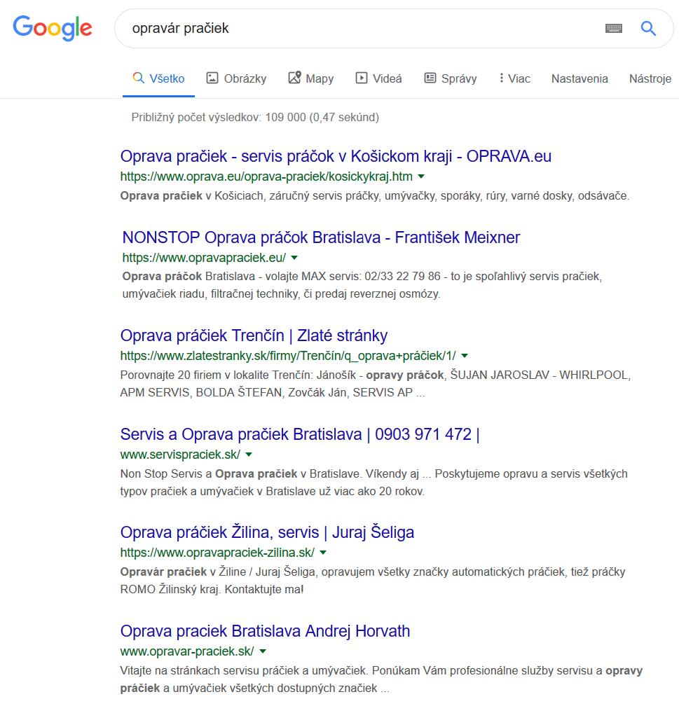 výsledok vyhľadávania v Google