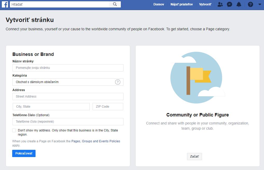 Facebook vytvorenie firemnej stránky
