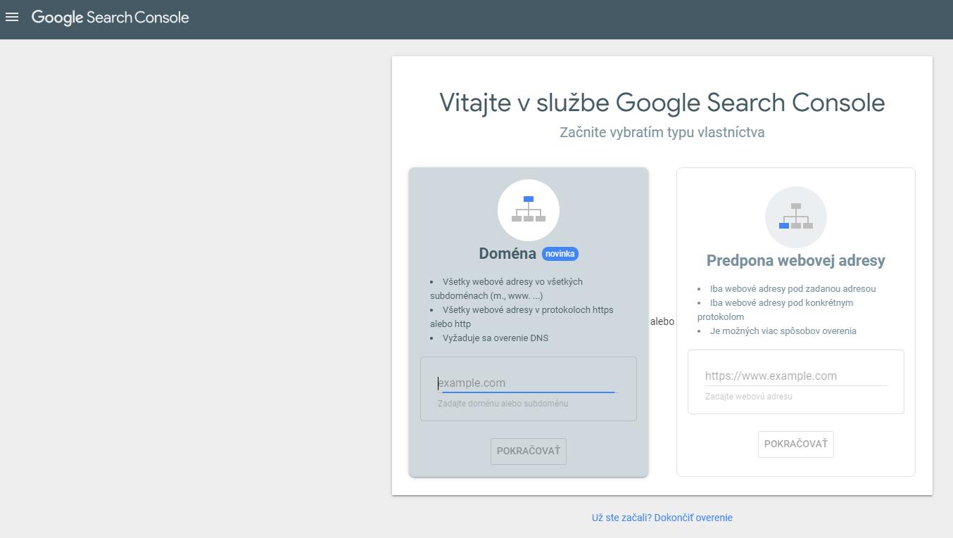 Google Search Console vytvorenie účtu