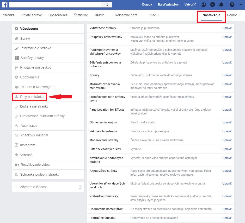 Facebook nastavenia