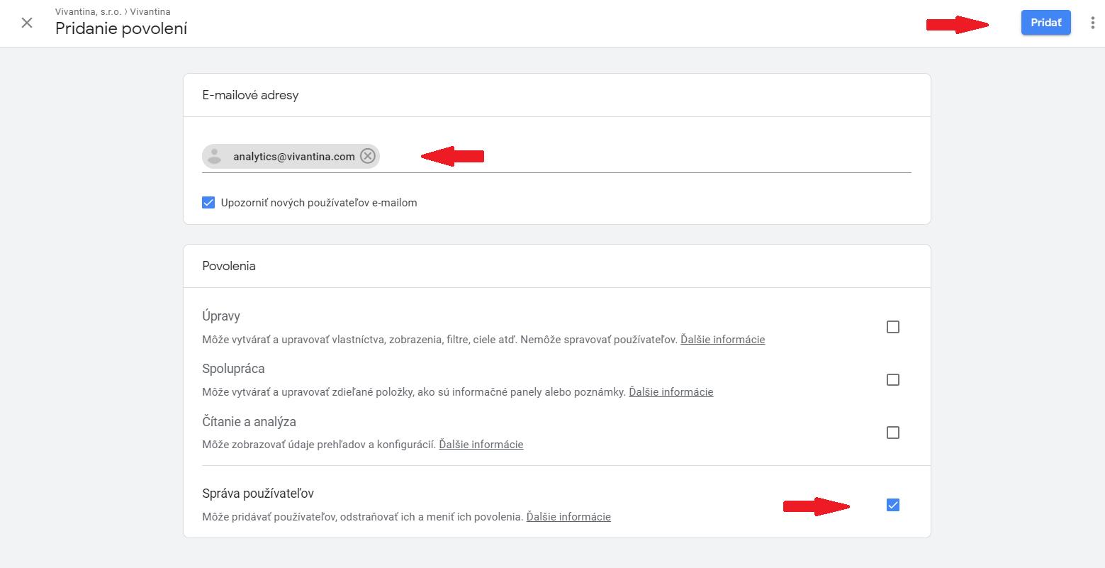 Google Analytics pridanie povolení