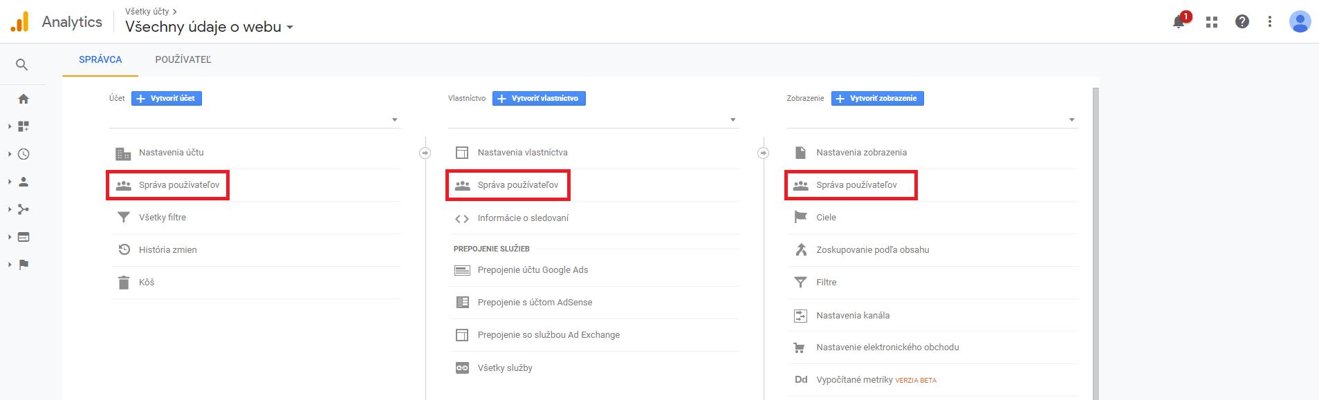 Google Analytics sprava pouzivatelov
