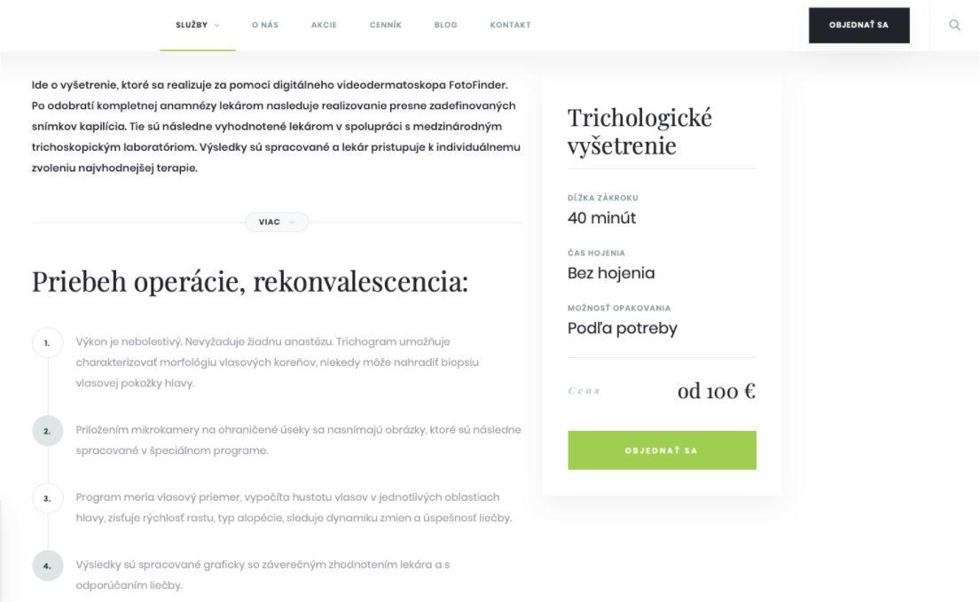 Podstránka kliniky estetickej medicíny
